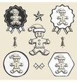 christmas gingerbread man vintage symbol emblem vector image vector image