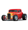 classic red custom street rod with hotrod flames vector image vector image