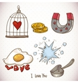 Doodle set elements of Valentines Day vector image
