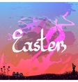 Easter background with easter bunny and eggs vector image vector image