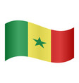 flag of senegal waving on white background vector image