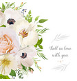 floral design card garden pink peach rose anemone vector image vector image