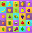 fruits food mixed fresh icons set flat style vector image