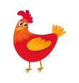 Funny cartoon red chicken hen standing and vector image vector image