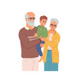 grandfather and grandmother with grandson on hands vector image vector image
