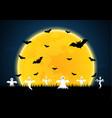 halloween white ghost moon bat graveyard vector image vector image