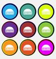 Hamburger icon sign Nine multi colored round vector image