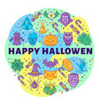 happy halloween linear icons circle infographics vector image