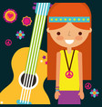 hippie woman with guitar musical instrument retro vector image