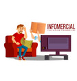 infomercial shop on the sofa man sitting on the vector image