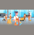 janitors team cleaning service concept cleaners vector image vector image