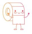 kawaii cartoon toilet paper roll in degraded vector image vector image