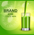 kiwi juice in glass concept background realistic vector image