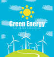 landscape with wind turbines green energy vector image