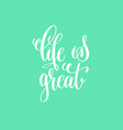 life is great hand lettering inscription vector image vector image