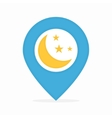 logo combination a map pointer and moon vector image vector image