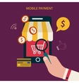 Mobile payment concept with flat icons vector image vector image