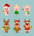 new year and christmas card a set of three deer vector image vector image
