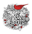 new year typographic poster wreath with lettering vector image vector image