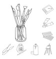 painter and drawing outline icons in set vector image