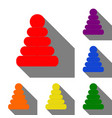 pyramid sign set of red orange vector image vector image