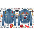 rock and roll forever denim jacket color concept vector image vector image