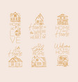 set house sign flat beige vector image vector image