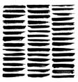 set of brush stroke black ink grunge vector image vector image