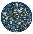 set of marine nautical cartoon objects vector image vector image