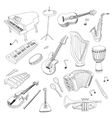 Set of Music Instruments - hand drawn vector image