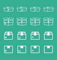 set of packaging box icon flat shipping pack vector image vector image