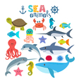 set of sea creatures Cute cartoon animals vector image vector image