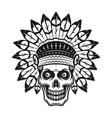 skull in indian headdress vector image vector image
