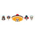 sugar mexican skulls flat set vector image
