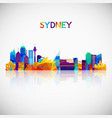 sydney skyline silhouette in colorful geometric vector image vector image