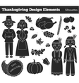 Thanksgiving silhouette elements vector image