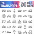 transport line icon set vehicle symbols vector image vector image