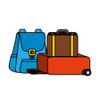 travelbag and suitcase icons vector image