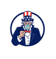 uncle sam wearing mask pointing mascot vector image vector image