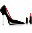 vector high heel shoe and a lipstick vector image vector image
