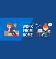 work from home young people man and woman vector image vector image