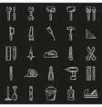 Working tools icon set on black background vector image vector image