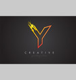 y letter design with golden outline and grunge vector image vector image