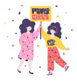 young girls hold banner power girls support each vector image