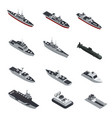 military boats isometric icon set vector image