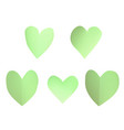 a set of green paper hearts vector image vector image