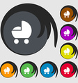 baby pram icon sign Symbols on eight colored vector image