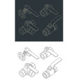 ball valves isometric drawings set vector image vector image