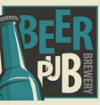 banner for beer pub and brewery with bottle vector image vector image