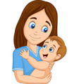 cartoon happy mother hugging her baby vector image vector image